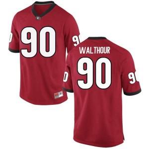 Youth Georgia Bulldogs #90 Tramel Walthour Red Replica College Football Jersey 790731-250
