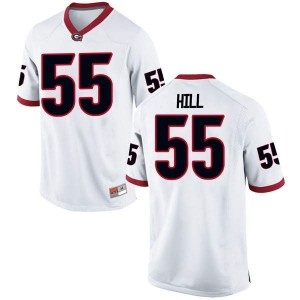 Youth Georgia Bulldogs #55 Trey Hill White Replica College Football Jersey 131963-767