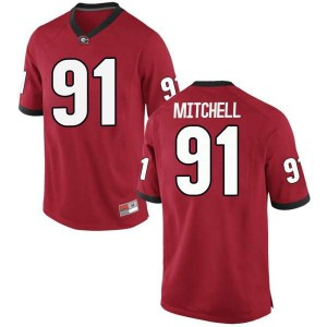 Youth Georgia Bulldogs #91 Tymon Mitchell Red Replica College Football Jersey 115185-163