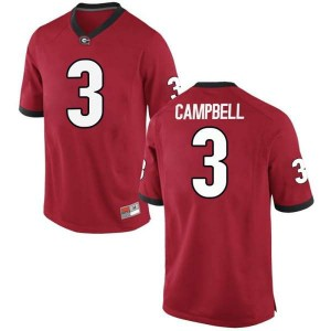 Youth Georgia Bulldogs #3 Tyson Campbell Red Game College Football Jersey 126384-511