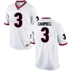Youth Georgia Bulldogs #3 Tyson Campbell White Replica College Football Jersey 464689-804